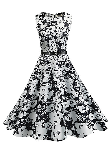 Women's Vintage Sheath Swing Dress - Floral, Vintage Style High Rise
