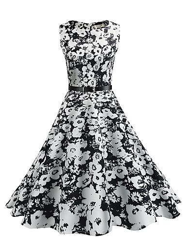 Women's Floral Daily Vintage Sheath / Swing Dress - Floral Vintage Style Summer Cotton Black
