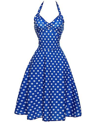 hesapli Vintage Kraliçesi-Kadın's Tatil Kumsal Vintage Pamuklu Kılıf Çan Elbise - Yuvarlak Noktalı, Desen Askılı Diz-boyu