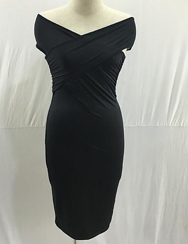 Dámské Párty Bodycon Šaty Jednobarevné,Krátký rukáv Úzký výstřih Midi Bavlna Léto Mid Rise Lehce elastické Tenké
