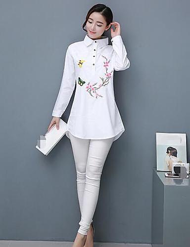 Dámské Jednobarevné Květinový Běžné/Denní Jednoduché Košile Bavlna Košilový límec Dlouhý rukáv Tenké