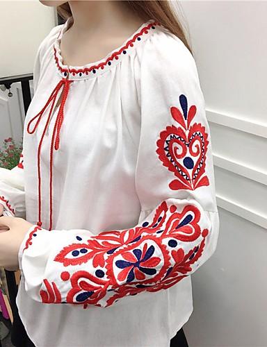 Dámské - Jednobarevné Jdeme ven Na běžné nošení Košile, Tisk Bavlna / Léto