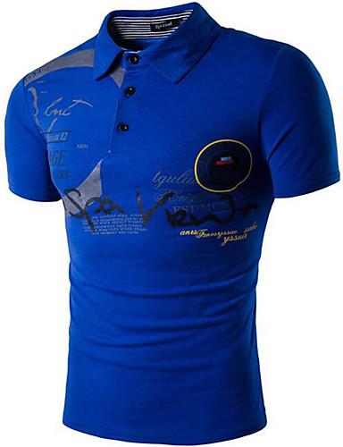 preiswerte Herren T-Shirts & Tank Tops-Herrn Buchstabe - Aktiv / Chinoiserie Baumwolle T-shirt, Rundhalsausschnitt Schlank Weiß L / Kurzarm