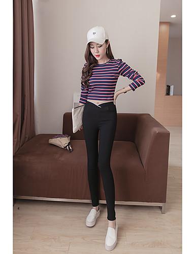 Dámské Jednoduchý Vysoká pružnost Kalhoty chinos Kalhoty Vypasovaný High Rise Jednobarevné