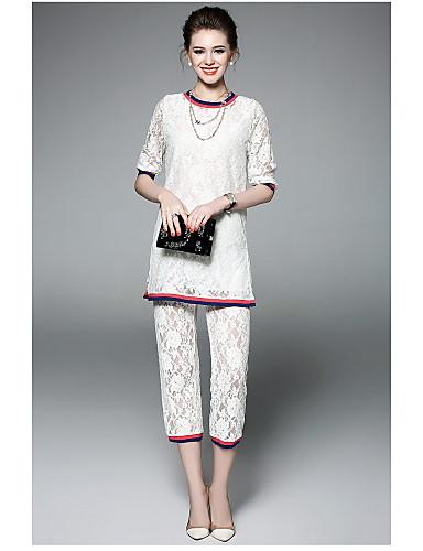 Damen Solide Moderne Alltag Bluse Hose Anzüge,Rundhalsausschnitt Sommer