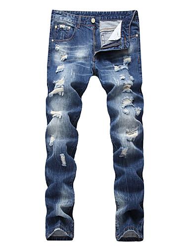 Homens Algodão Delgado Jeans Calças - Sólido Vazado