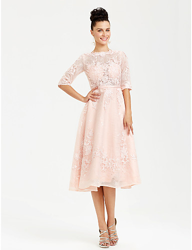A-Line Boat Neck / Bateau Neck Tea Length Lace See Through Cocktail Party Dress with Appliques / Sash / Ribbon by TS Couture®