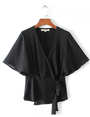 Damen Solide Druck Sexy Einfach Street Schick Lässig/Alltäglich Ausgehen T-shirt,V-Ausschnitt Sommer Kurzarm Baumwolle Mittel Dünn
