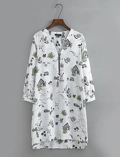 Damen Lose Etuikleid Kleid-Ausgehen Lässig/Alltäglich Einfach Street Schick Blumen V-Ausschnitt Übers Knie Seide Baumwolle Sommer Herbst