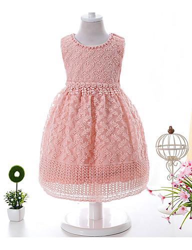 bebê Menina de Vestido Jacquard Verão Algodão Sem Manga Floral Branco Rosa