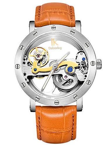 Pánské mechanické hodinky Hodinky s lebkou Módní hodinky Automatické natahování Voděodolné Svítící Kůže Kapela Černá Orange Hnědá