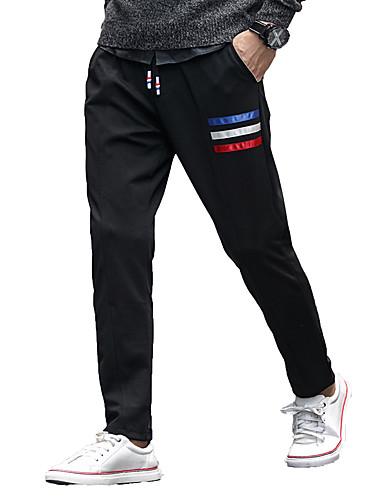 Miehet Yksinkertainen Aktiivinen Mikroelastinen Skinny Chinos housut Housut,Rento Haaremi Keski vyötäröYhtenäinen Color Block