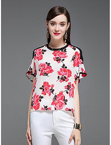 Damen Blumen Einfach Alltag Bluse,Rundhalsausschnitt Kurzarm Acryl