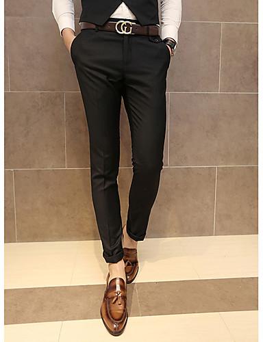 Pánské Jednoduchý strenchy Kalhoty chinos Kalhoty Štíhlý Mid Rise Jednobarevné
