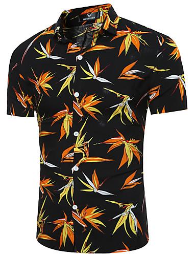 Pánské Květinový Denní Jdeme ven Práce Vintage Šik ven Košile-Léto Podzim Bavlna Akryl Košilový límec Krátký rukáv Střední