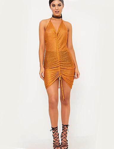 Dámské Sexy Plážové Klub Bodycon Pouzdro Šaty Jednobarevné,Bez rukávů Lodičkový Asymetrické Polyester Léto High Rise Lehce elastické Tenké