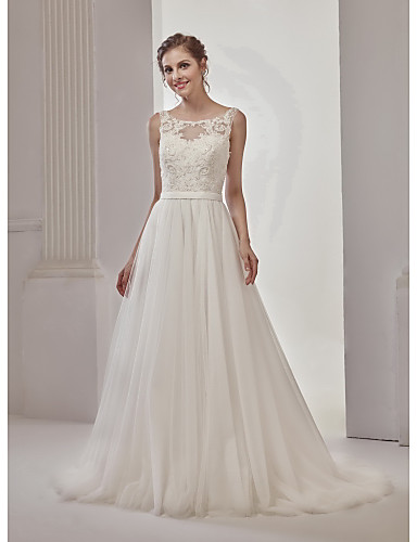 A-Line Princess Illusion Neckline Court Train Lace Tulle Wedding Dress with Beading Sashes/ Ribbons by Marrica
