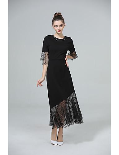Damen Aufflackern-Hülsen- Hülle Kleid Solide