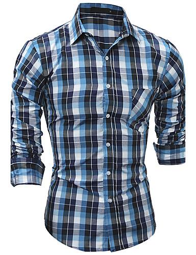 Homens Camisa Social Temática Asiática Quadriculada Algodão Colarinho Clássico