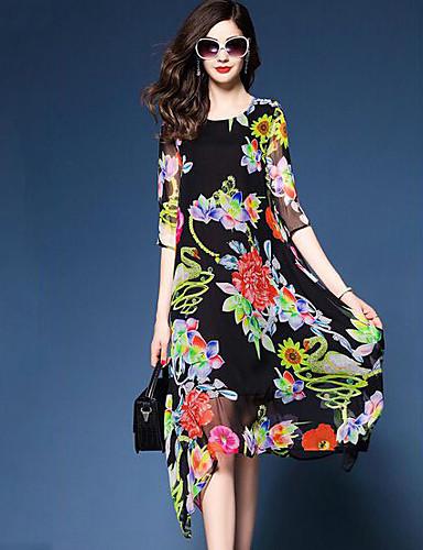 Damen Ausgehen Swing Kleid Blumen Asymmetrisch