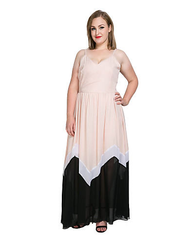 1a08a90e4fcb Women's Plus Size Party / Beach Vintage / Street chic Maxi Sheath / Chiffon  / Swing Dress - Color Block / Patchwork Strap Spring Pink Navy Blue Royal  Blue ...