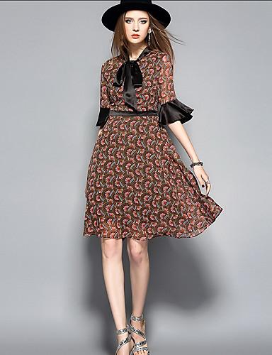 Damen Aufflackern-Hülsen- A-Linie Kleid - Druck Ständer