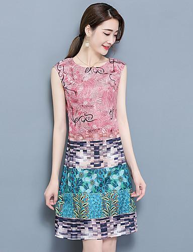 Damen Übergrössen A-Linie Kleid Einfarbig