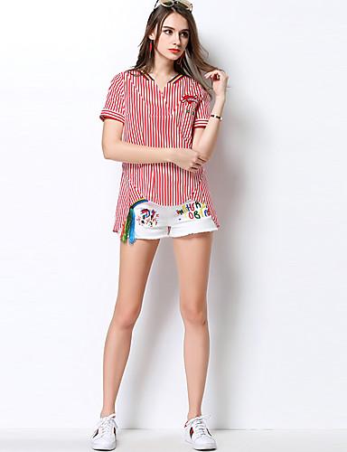Damen Gestreift Einfach Ausgehen Lässig/Alltäglich Hemd,Hemdkragen Frühling Sommer Baumwolle Dünn