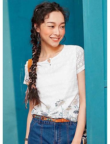 Naiset Lyhythihainen Pyöreä kaula-aukko Polyesteri Yksinkertainen Rento/arki T-paita,Yhtenäinen Painettu