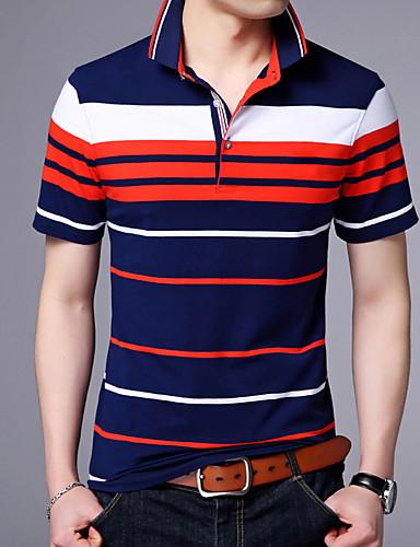 Pánské Proužky Denní Jednoduché Polo Bavlna Košilový límec Krátký rukáv