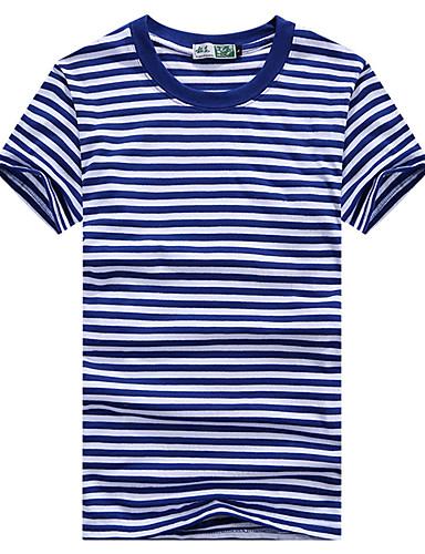 Damen Gestreift Einfach Aktiv T-shirt,Rundhalsausschnitt Frühling Sommer Kurzarm Baumwollmischung Dünn