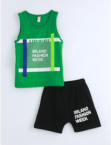 Jungen Kleidungs Set Geometrisch Baumwolle Sommer Ärmellos Grün