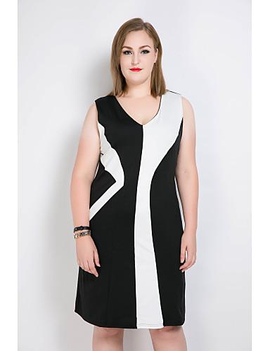 Dámské Větší velikosti Shift Pouzdro Černobílá Šaty - Barevné bloky Patchwork Do V