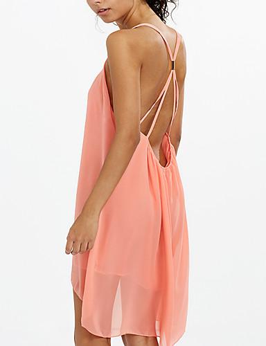 Damen Lose Kleid - Rückenfrei, Solide Asymmetrisch Gurt Tiefes U