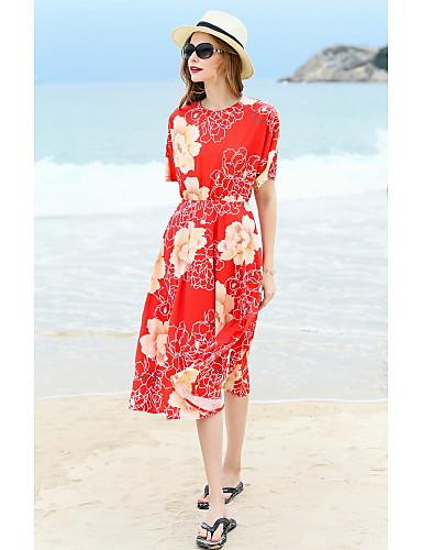 Damen A-Linie Kleid-Ausgehen Lässig/Alltäglich Niedlich Druck Rundhalsausschnitt Midi Kurzarm Seide Frühling Sommer Hohe Hüfthöhe