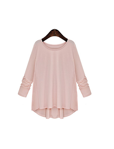 Damen Solide Einfach Ausgehen T-shirt,Rundhalsausschnitt Frühling Sommer Langarm Baumwolle Mittel