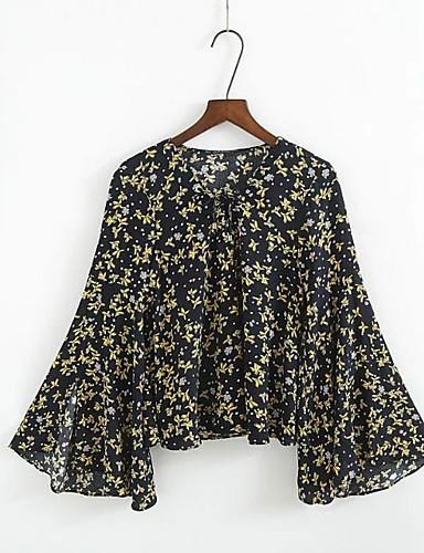 Damen Blumen Sexy Einfach Street Schick Ausgehen Lässig/Alltäglich T-shirt,Rundhalsausschnitt Sommer Langarm Baumwolle Dünn Mittel