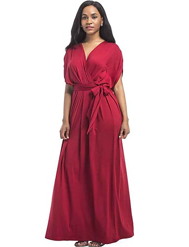 Women's Plus Size Street chic Loose Dress - Solid Colored Maxi V Neck