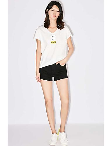 Feminino Camiseta Casual Simples Sólido Estampado Algodão Decote Redondo Manga Curta