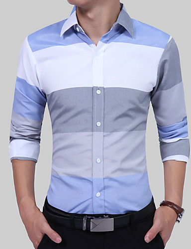 Men's Work Cotton Slim Shirt - Color Block Blue & White, Patchwork Spread Collar / Long Sleeve