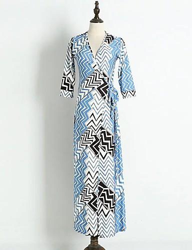 Damen A-Linie Lose Etuikleid Kleid Einfach Street Schick Geometrisch V-Ausschnitt Maxi Langarm Seide Baumwolle Sommer Herbst Mittlere