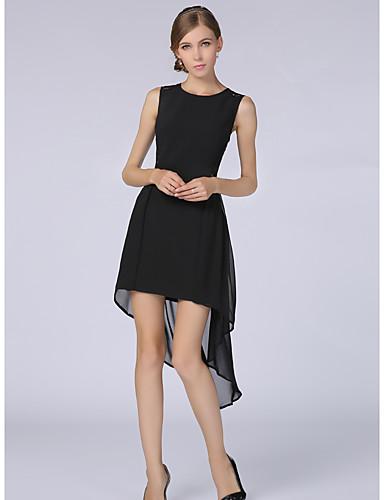 Damen Arbeit Übergröße Freizeit Sexy A-Linie Knielang Kleid Solide Rundhalsausschnitt Kurzarm Sommer