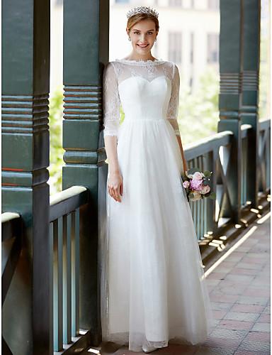 A-linje Besmykket Gulvlang Blonder / Tyll Egendefinerte brudekjoler med Sløyfe / Belte / bånd av LAN TING BRIDE®