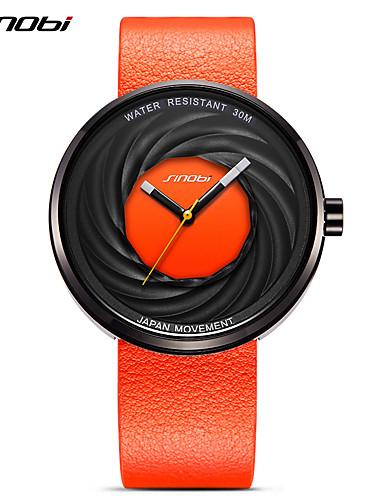 SINOBI Homens Quartzo Bracele Relógio Relógio Esportivo Japanês Impermeável Resistente ao Choque Couro Banda Amuleto Brilhante Vintage