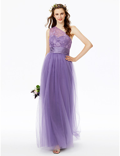 Sheath / Column One Shoulder Floor Length Tulle / Corded Lace Bridesmaid Dress with Lace / Sash / Ribbon / Pleats / Ruched by LAN TING