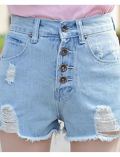 Damen Hohe Hüfthöhe Jeans Breites Bein Hose einfarbig