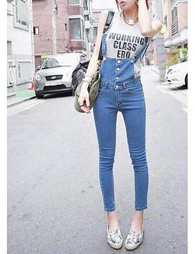 Damen Hohe Hüfthöhe Eng Overall Hose Solide