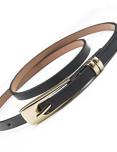 Women's Dress Belt Alloy Skinny Belt - Solid Colored Shiny Metallic / PU