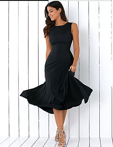 Damen Hülle Swing Kleid-Ausgehen Lässig/Alltäglich Urlaub Sexy Einfach Street Schick Gestreift Rundhalsausschnitt Midi Ärmellos Polyester
