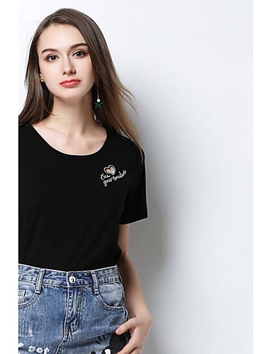 Naiset Lyhythihainen Pyöreä kaula-aukko Puuvilla Yksinkertainen Päivittäin T-paita,Yhtenäinen